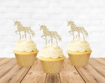 Unicorn Cupcake Toppers, Unicorn Cake Topper, Cupcake Picks, Unicorn Birthday Party, Unicorn Baby Shower, Unicorn Party Decorations
