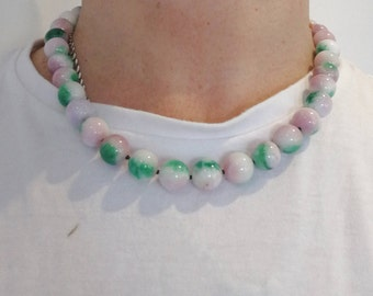 Jadeite lavender Necklace 21 inches icy Natural A jadeite