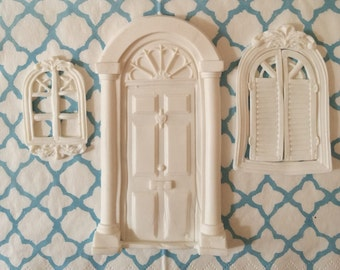 Set of Edible Fondant Decoration. Victorian door and windows. Cakes cupcakes cookies cakepops toppers and decoration