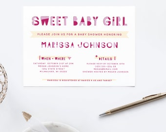 Sweet Baby Girl // Baby Shower Invite // Printable Invitation  // Printable Baby Shower Invite // Shower Invitation // The Busy Bee