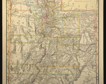 TWO SIDED Antique Road Map of Utah Map Highway Trolley