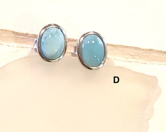 Oval  Larimar Stud Earrings with  925 Sterling Silver  - Dominican Larimar - Calming Stone ( 4 Options available)