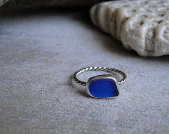 Colbalt Blue Sea Glass Ring, Sea Glass Ring, Sea Glass Jewelry, Sterling Silver, Blue Sea Glass, Genuine Sea Glass, Beach Glass, Size 6.5