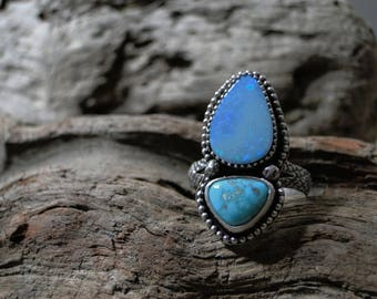 Australian Opal and Turquoise Ring, Carico Lake Turquoise, Turquoise Ring, Genuine Turquoise, Sterling Silver, Opal Ring, Size 8