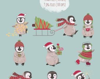 Digital Download, Christmas Penguin Clip Art