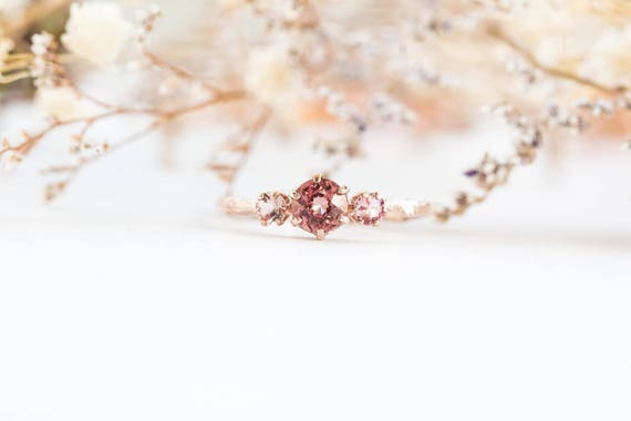 Malaya garnet three stone 14k gold twig engagement ring, three stone engagement ring, gold twig, malaya garnet engagement ring, mauve ring