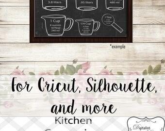 kitchen svg, measuring cups svg, measuring cheat sheet svg, cooking svg, silhouette, cricut cut files, vector, kitchen art, kitchen decor