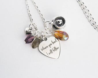 Gilmore Girls Charm Necklace Where You Lead I Will Follow Quote Lorelai Gilmore Rory Gilmore Mother Daughter Best Friend Friendship Jewelry