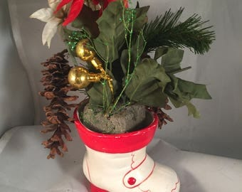 Vintage Ceramic White Red Christmas Holiday Santa Boot Planter Candy dish