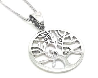 Silver Tree of Life Pendant and Necklace,  The Tree of Life represents family and Growth, Timeless unique minimalist