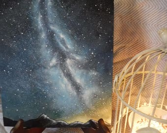 BEAUTIFUL Milky Way Galaxy Acrylic Canvas Painting Perfect for Child's Bedroom or Gallery Wall