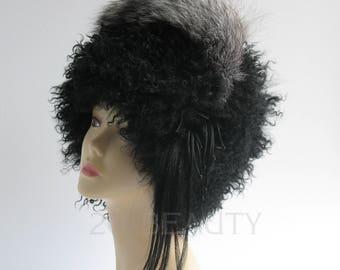 Womens Hats Trendy Unicorn hat Womens Llama fur hat Unicorn art Boho Hippie Hat womens headwear Bohemian Clothing Black hat hat for Ladies.