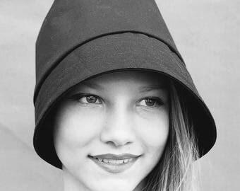 Handmade designer hat| black cotton cloche hat|womens fashion hat| French hat| ZUTamelie designer rain hat in waxed cotton