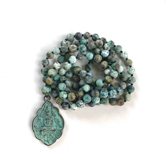 Mala Beads For Growth, African Turquoise Mala Necklace, Knotted 108 Bead Mala, Buddha Necklace, Yoga Meditation Beads, Yoga Jewelry