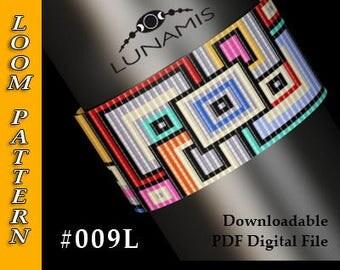Loom bracelet pattern, loom pattern, square stitch pattern, pdf file, pdf pattern, cuff, #009L