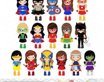 32 Superhero Girls Digital Clipart, Superhero Clip Art, Girl Superhero Clip Art, Little Girl Super Hero Clipart, Super Hero Clip Art 0264