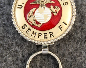 IN STOCK - Unless personalized - Semper Fi Key Chain - Metal United States Marine Corps Key Chain  - A one of a kind gift for your Marine!