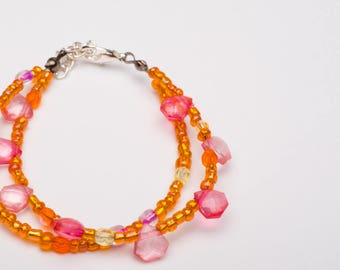 Summers Evening Double Strand Glass Bead Bracelet