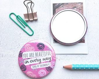 Pink Floral Pocket Mirror | Compact Mirror | Teacher Gift | Gifts for Women | Christian Gifts | Encouragement Gift | Stocking filler