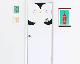 Pumi the Penguin door decal / Wall decal for kids rooms and nurseries / Animal Decal / Penguin Decal