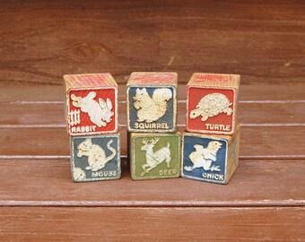 6 Old Wood Blocks, Vintage Animal Blocks, Vintage Toy Blocks,  Wooden Blocks, Animal Blocks, Vintage Decor