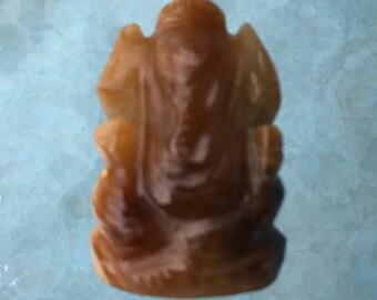 Energized Tiger Eye Ganesha, Gemstone Ganesha, tigers-eye Ganesha statue, Semi Precious Lord Ganesh Remover of Obstacles, 1.25'' inches