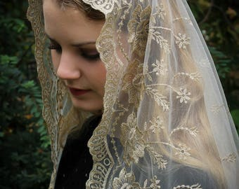 Evintage Veils~ Our Lady of Guadalupe Floral Gold & Ivory Embroidered D Shaped Veil~  Soft and Light!