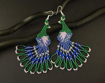 Peacock earrings Blue green seed beaded jewelry Chandelier earrings Boho dangle earrings Beaded bird earrings Nature earrings green peacocks
