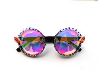 "Phish ""Shocks My Brain"" meatstick kaleidoscope glasses, psychedelic diffraction glasses, funky festival eyewear"