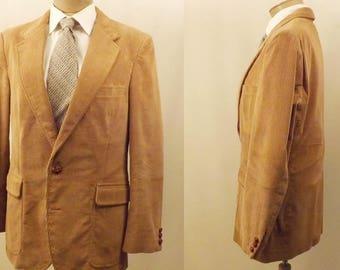Vintage Pierre Cardin Tan Corduroy Sport Coat Size 40