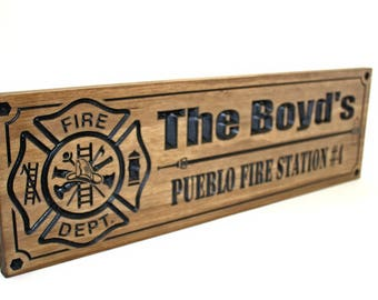 Firefighter Sign-Fire Station sign-Fire Department Sign-Custom sign-Personalized Wood Sign-Firefighter Gift-(CWD-468)