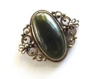 Antique Victorian Silver Moss Agate Brooch