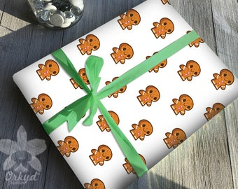Printable gift wrap wrapping Christmas Cookies Gingerbread Man Scrapbooking Instant download Digital paper