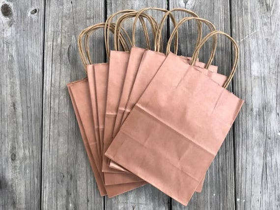 100 Pack Rose Gold Gift Bags With Handles Wedding Welcome