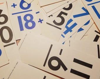 Vintage flashcards, addition flashcards, subtraction flashcards