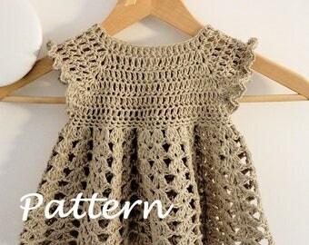 Crochet dress PATTERN - Light Beige Simple Dress (sizes up to 8 years)