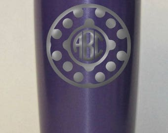 Personalized Powder Coated Tumbler (Mug). Laser Engraved Polka Dot Circle Monogram. Choose from 22 tumbler colors. Perfect for gift giving.