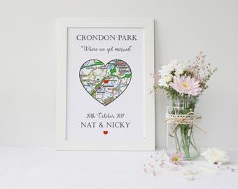 personalised wedding gift, wedding gift, personalised map, personalised map print, gift for couple, personalised gift, wedding keepsake