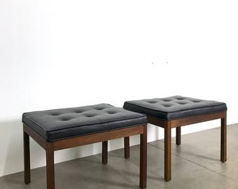 Pair of Black Tufted Walnut Parsons Benches 1960's