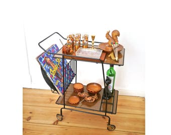 Bar cart trolly vintage metal formica wheeled serving cart record player stand 50s Mid-Century modern furniture bar party liquor cabinet 903