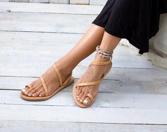 Greek sandals, strappy sandals, leather sandals, Greek leather sandals, flat sandals SYROS