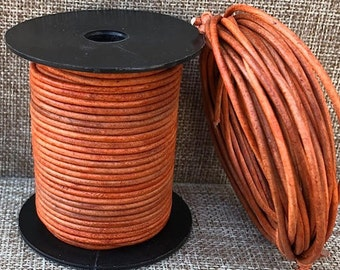 25 Meters 1.5mm Tangerine Natural Dye 25 meters (27 yards) 1.5mm ND Leather Cord Made In India - LCR1.5-3021