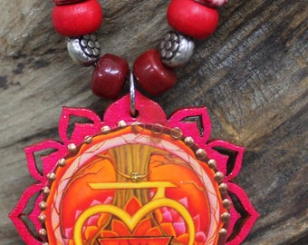 First Chakra pendant, Root Chakra necklace, Muladhara pendant, Healing jewelry,  Lotus necklace, Base chakra pendant