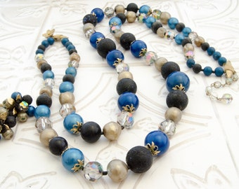 Coro Vendome Jewelry Set - Vintage Blue Beaded Necklace and Earrings - Mad Men Fashion - Rockabilly Gift For Women - Autumn Wedding Jewelry