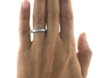 Free Shipping, White Gold Wedding Band, 0.5 Carat Ring, Diamond Wedding Ring 14K Gold Ring PLATINUM Ring Gold Diamond Ring Pave Diamond Band