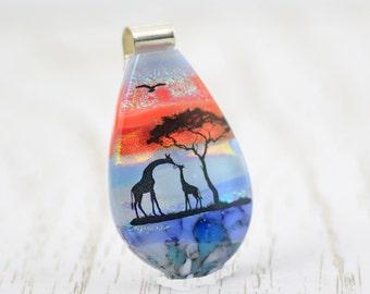 Fused Glass Giraffe Pendant - Dichroic Glass Pendant - Giraffes at Sunset - Landscape Pendant - Fused Glass Jewellery.  JBT571
