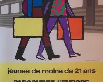 Original 1972 French National Railways Poster Advertising European Inter Rail Travel