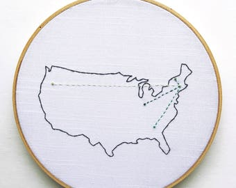 United States Map Art of Moves and Travels. Custom made. Embroidery Hoop Art. Personalized housewarming gift. Military gift.