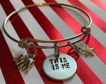"""Greatest Show Man Inspired Hand-Stamped Bangle Bracelet - """"This Is me"""""""