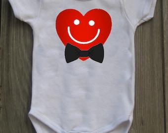 Smiling Heart Valentine Bodysuit for Baby Boy
